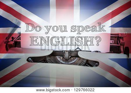 do you speak english against digitally generated uk national flag