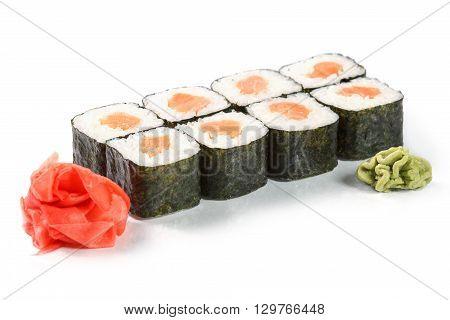 Sushi with salmon sake-maki isolated on white. Japanese food