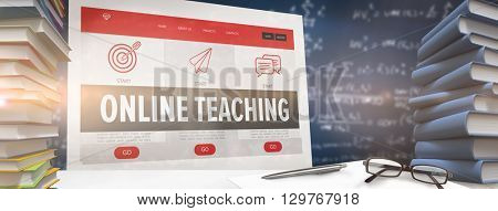 desk against online teaching interface