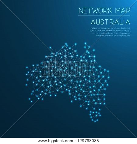 Australia Network Map. Abstract Polygonal Map Design. Internet Connections Vector Illustration.