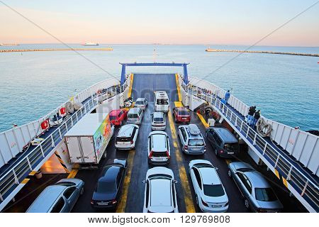Kerch Strait - April, 9, 2016: the ferryboat in Kerch Strait