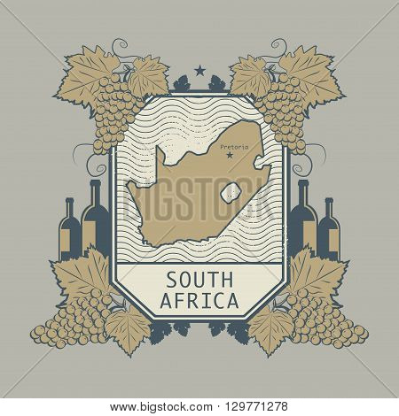 Vintage wine label with South Africa map, vector illustration