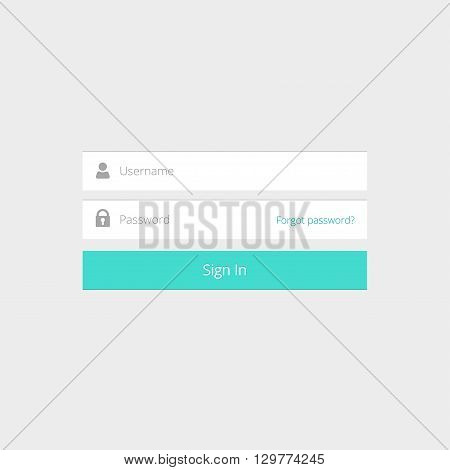 Login box, login form, login ui interface element, login screen, sign in button, username and password inputs, log in icons, flat modern window vector design on grey background