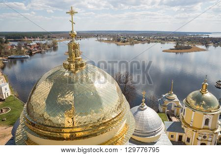 Top view of the lake Seliger and dome Nilo-Stolobensky monastery. Russia.