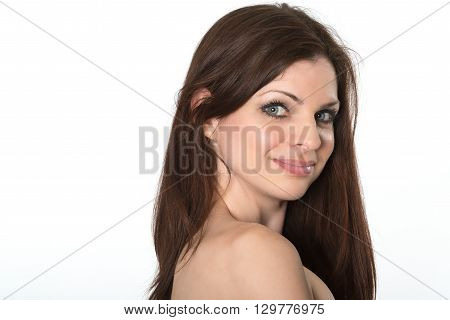 Portrait of beautiful happy brunette isolated on white