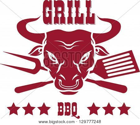 Steak house emblems templates. Grill. Barbecue and grill labels, badges, logos and emblems. Steak house restaurant menu design elements