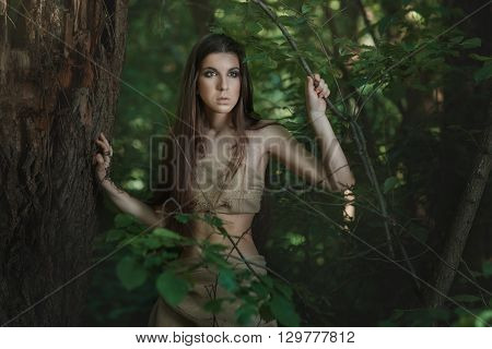 European woman lives in the woods like a savage.