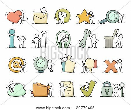 Multimedia icons set with working little people. Doodle cute miniature scenes of workers with buttons. Hand drawn cartoon vector illustration for phone buttons.