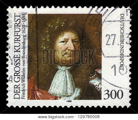 GERMANY - CIRCA 1995: a stamp printed in Germany shows portrait Great Elector Frederick William of Brandenburg , circa 1995