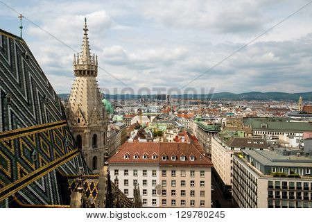 Vienna, Austria aerial landscape from St Stephens Cathedral