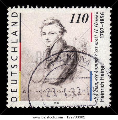 GERMANY - CIRCA 1997: a stamp printed in Germany shows portrait Heinrich Heine (1797-1856)  german poet, journalist, essayist, circa 1997
