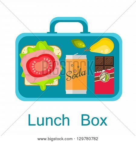 Lunch box vector. Lunch bag with sandwich, soda, chocolate and pear. Snack pack for student.