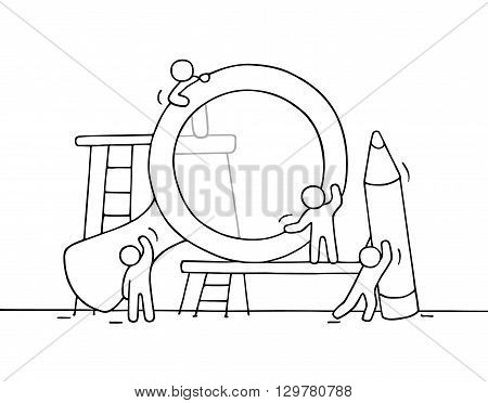 Sketch of working little people with loupe pencil. Doodle cute miniature scene of workers. Hand drawn cartoon vector illustration for business design.