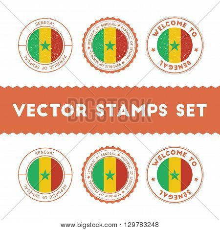 Senegalese Flag Rubber Stamps Set. National Flags Grunge Stamps. Country Round Badges Collection.