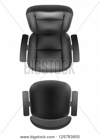 Office chair and boss armchair top view vector realistic isolated. Furniture for office cabinet or conference room plan.