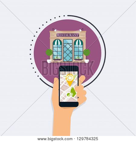 Hand Holding Mobile Smart Phone With Mobile Application Search Restaurant. Find Closest On City Map.