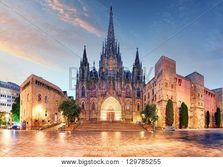 Gothic Barcelona Cathedral at night in Spain