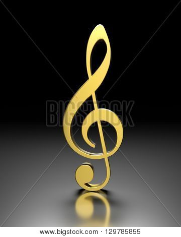 3D golden violin clef on a dark background