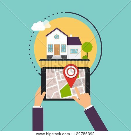 Hand Holding Smartphones With Mobile Application Search Home. Find Closest On City Map. Flat Design