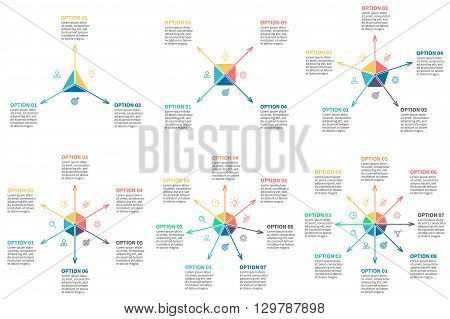 Outline infographic, multidirectional arrows. Radial charts, diagrams with 3, 4, 5, 6, 7, 8 steps, options, parts, processes. Vector templates.