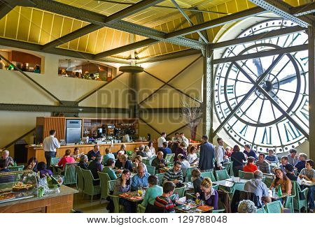 Paris France - October 6 2009: Visitors in the bar near the clock of the D'Orsay museum.