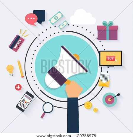 Digital marketing concept. Hand Holding Megaphone. Flat advertising icons set. Communication Systems and Technologies.