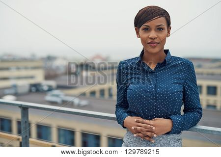 Calm Business Woman With Folded Hands Outside