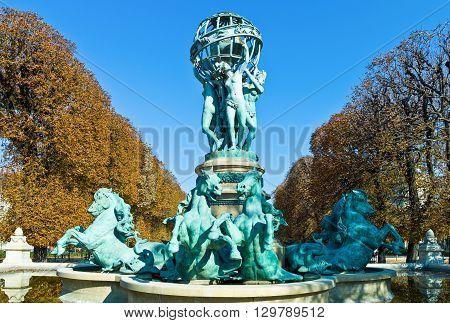 Paris Luxemburg gardens area the Observatory fountain