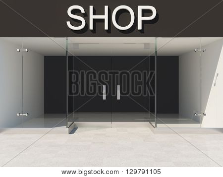 New shop with empty glass showcase. 3D illustration.
