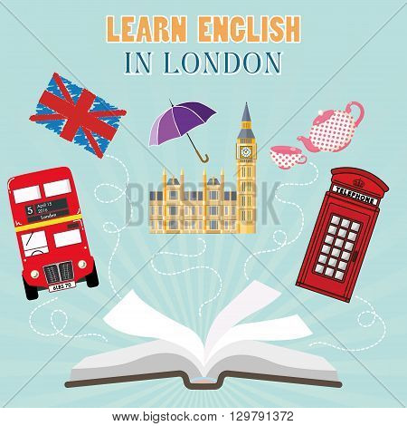 Abroad Language School. Studying foreign languages concept. Open book with hand drawn England flag and english symbols. Flat design, vector illustration. text - Learn english in London.