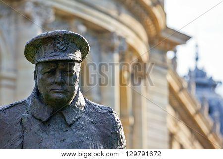 Paris France - August 29 2011: Av. Winston Churchill the Churchill monument detail.