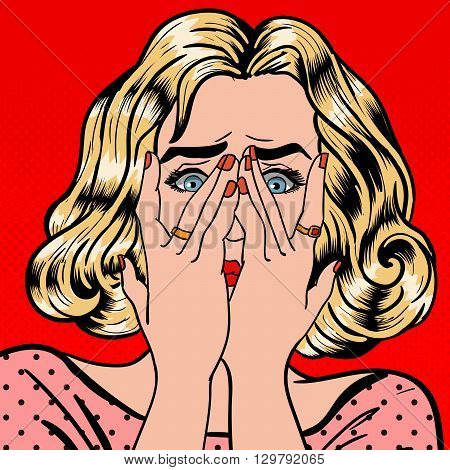 Shocked Woman Closes Eyes with Her Hands. Pop Art Vector illustration