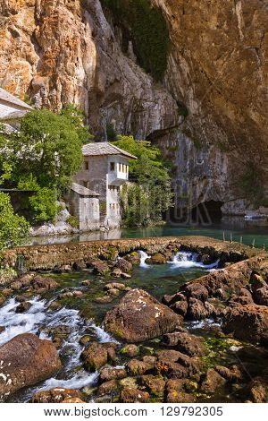 Blagaj dervish house - Bosnia and Herzegovina - architecture travel background