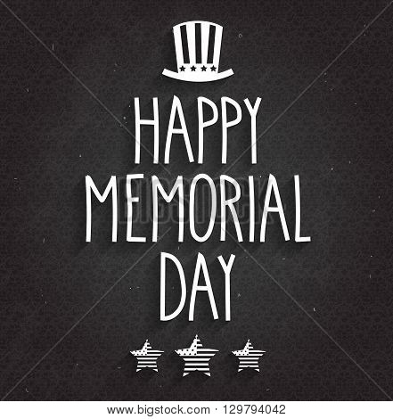 Happy Memorial Day poster on black chalkboard. Handwritten text with hat and stars. Vector illustration.