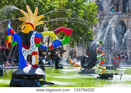 Paris France - August 30 2011: Les Halles the fountain made by J.Tinguely and dedicated to Stravinsky.