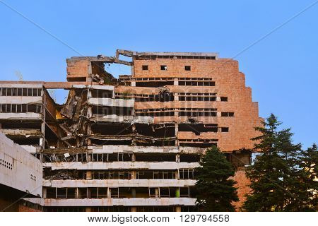 Ruins of Ministry of Defense Building from NATO Bombing in Belgrade - Serbia