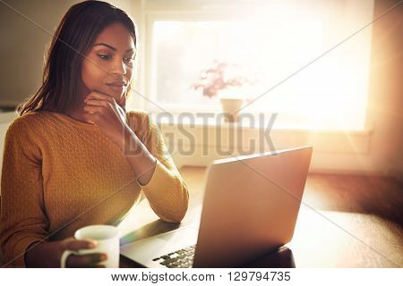 Serious Woman Holding Chin And Looking At Computer