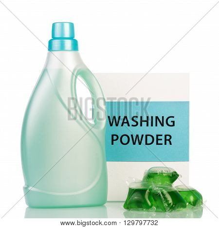 Detergents and bleach isolated on white background.
