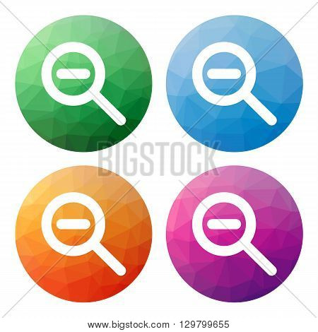 Set  Of 4 Isolated Modern Low Polygonal Buttons - Icons - For Zoom Out (shrink)
