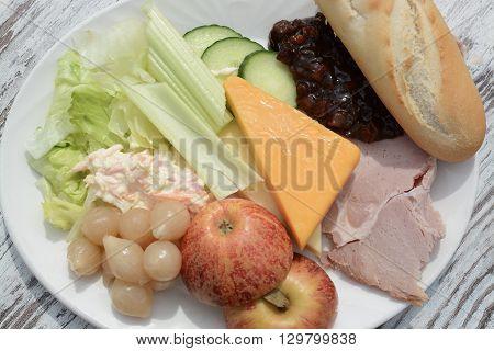 A Ploughman's lunch salad mixed food platter