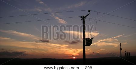 Sunset With Phone Wire