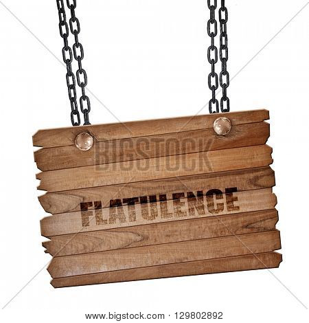 flatulence, 3D rendering, wooden board on a grunge chain