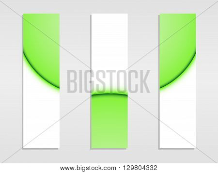 Set of vector banners, banners of green lines, vector illustration