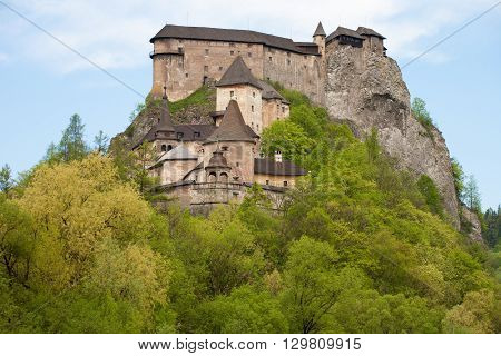 The Orava Castle on top of a hill in Slovakia.