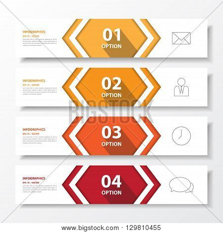Design Flat Shadow Step Number Banners /graphic Or Website.vector Eps10.