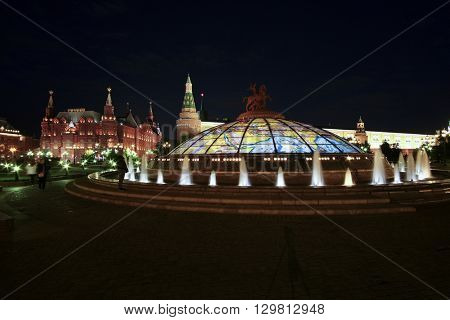 Moscow, Russia - May, 14, 2016: Facade of Landscape with the image of Manege square in a center of Moscow, Russia