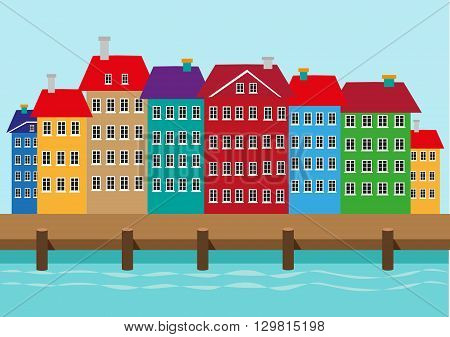 Colorful Houses along a boat dock or harbor. Nyhavn waterfront district in Copenhagen Denmark illustration. Editable Clip Art.