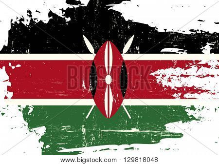 Kenya scratched Flag. A Kenyan flag with a grunge texture