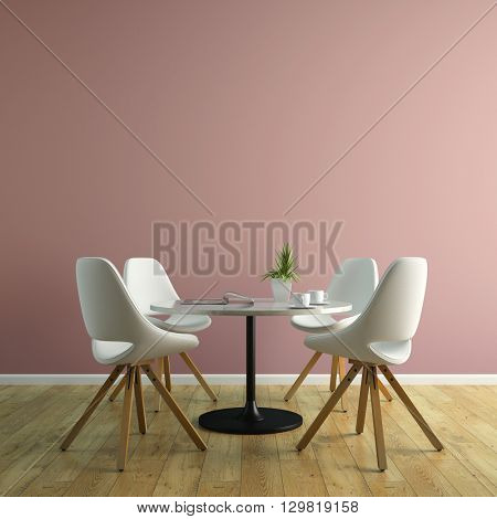 Part of interior with white chairs and table 3D rendering
