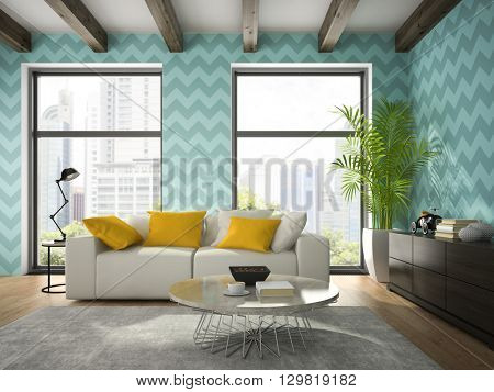 Interior of modern design room with blue wallpaper 3D rendering